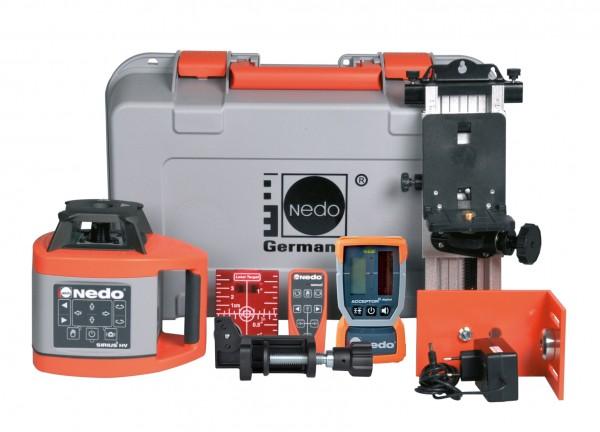 Nedo Rotationslaser-Komplett-Set SIRIUS 1 HV / Laserklasse 3R Inkl. ACCEPTOR 2digital, Wandhalter