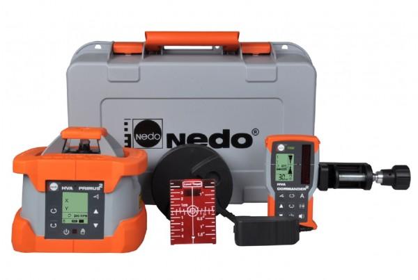 Nedo Rotationslaser PRIMUS 2 HVA / Laserklasse 3R Inkl. COMMANDER 2 HVA mit mm-Anzeige