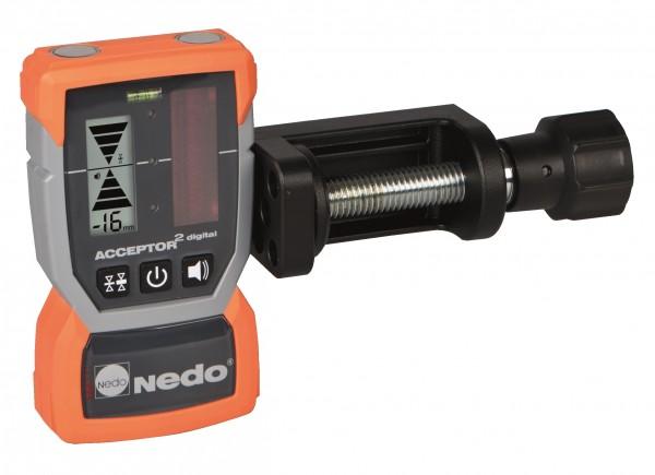 Laserempfänger ACCEPTOR² digital mit mm-Anzeige, Rotationslaser m. roten Strahl