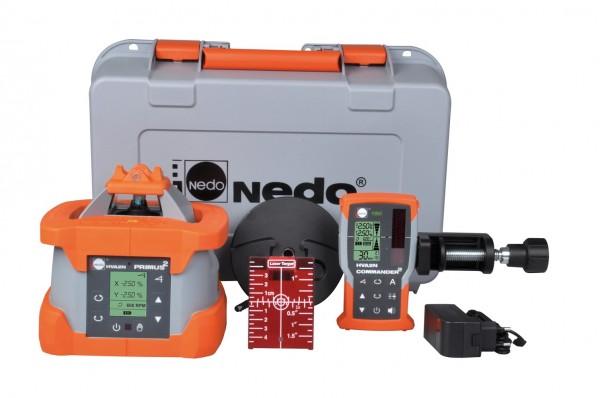 Nedo Rotationslaser PRIMUS 2 HVA2N/ Laserklasse 2 Inkl. COMMANDER 2 HVA2N mit Neigungsüberwachung