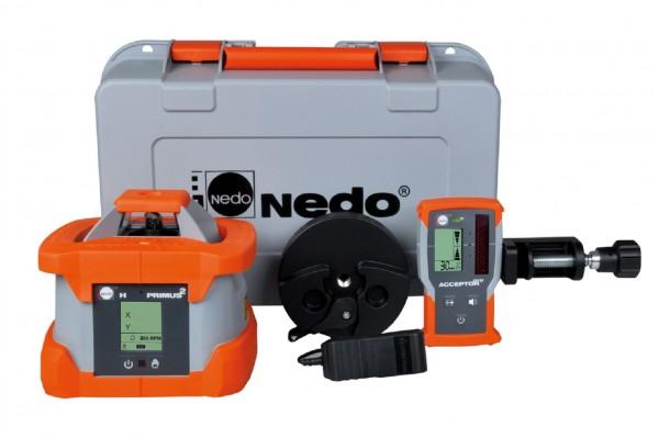 Nedo Rotationslaser PRIMUS 2 H / Laserklasse 2 Inkl. ACCEPTOR PRO + mit mm-Anzeige
